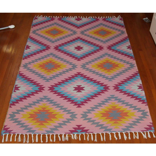 "Reversible Flat Weave Diamond Wool Kilim Rug - 5'3"" x 7'6"" - Image 8 of 8"