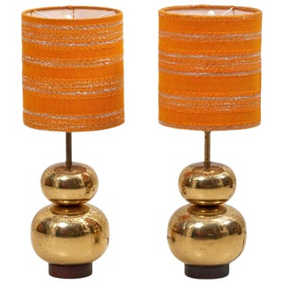 Pair of Bubble Brass 1970s Table Lamps With Original Shades For Sale