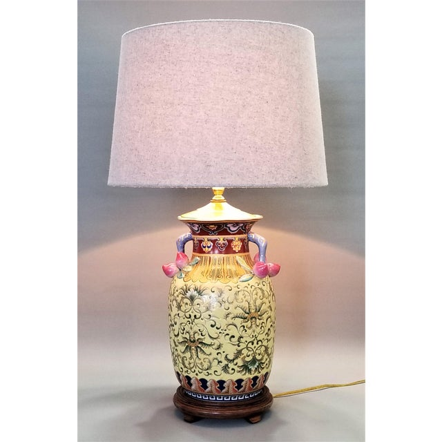 1960s vintage famille rose floral chinese table lamp with peaches 1960s vintage famille rose floral chinese table lamp with peaches boho chic tropical coastal haute aloadofball Image collections