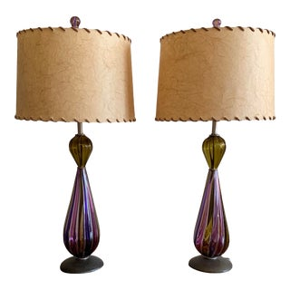 Murano Desk Lamps - A Pair For Sale