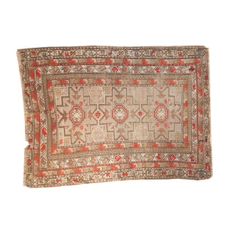 "4x5 Antique Caucasian Square Rug - 3'11"" X 5'2"" For Sale"