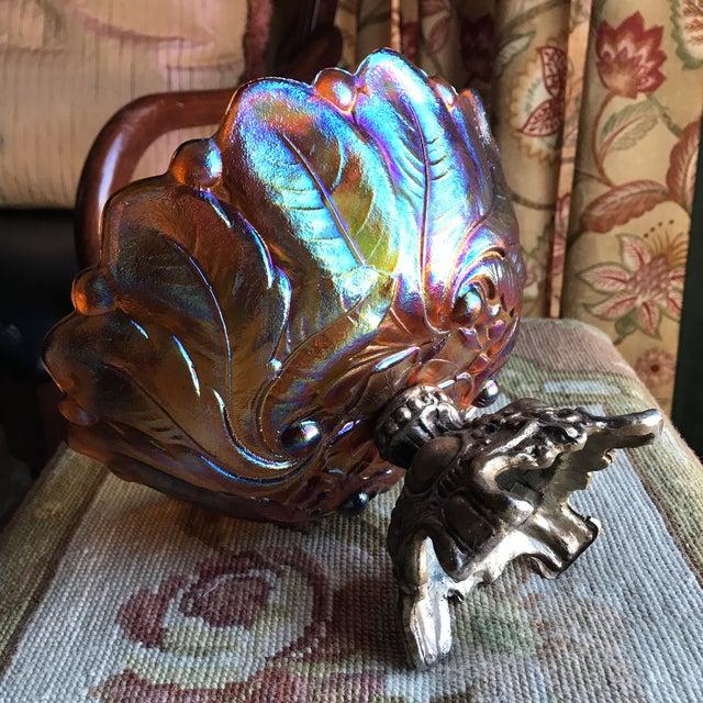 Amber Carnival Glass Sunflower Pedestal Bowl For Sale In Boston - Image 6 of 8