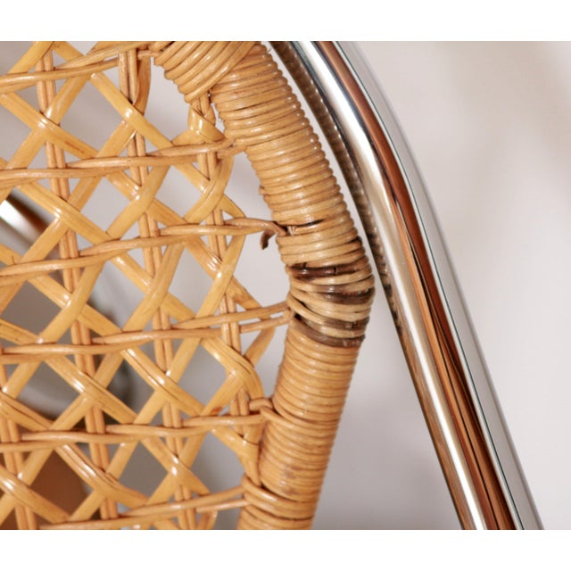 Mid Century Modern Italian Chrome & Woven Rattan Wicker Dining Chairs - Set of 4 For Sale - Image 9 of 11