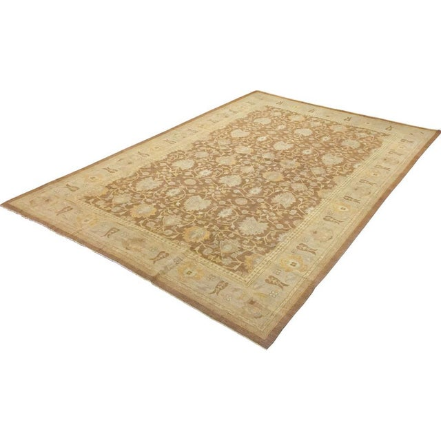 """Textile Peshawar Audry Brown & Tan Wool Rug - 12' x 17'7"""" For Sale - Image 7 of 7"""