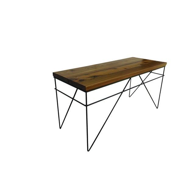 Modern Industrial Steel & Cedar Desk - Image 2 of 8