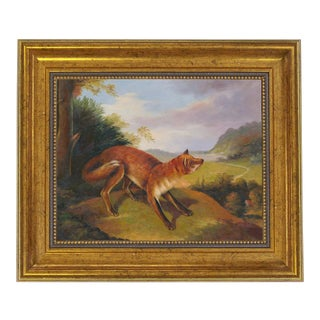 Contemporary Landscape with Fox Print on Canvas, Framed For Sale