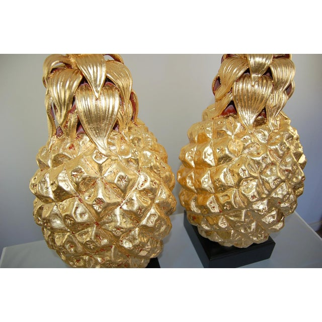 1960s Marbro Italian Ceramic Pineapple Table Lamps Gold For Sale - Image 5 of 11