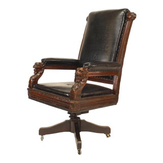 English Victorian Black Leather Swivel Chair For Sale