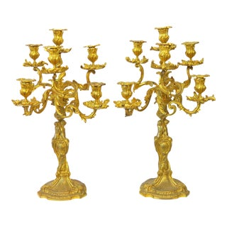Late 19th Century Barbedienne Gilt Bronze Candelabras - a Pair For Sale