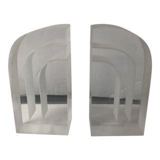 1980s Art Deco Style Lucite Bookends - a Pair For Sale