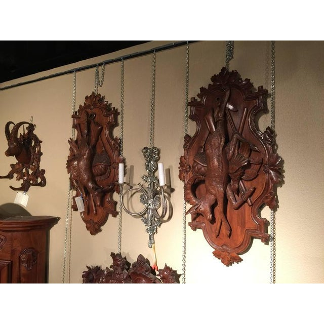 19th Century Swiss Carved Walnut Black Forest Wall Hunting Trophies - A Pair For Sale In Dallas - Image 6 of 11