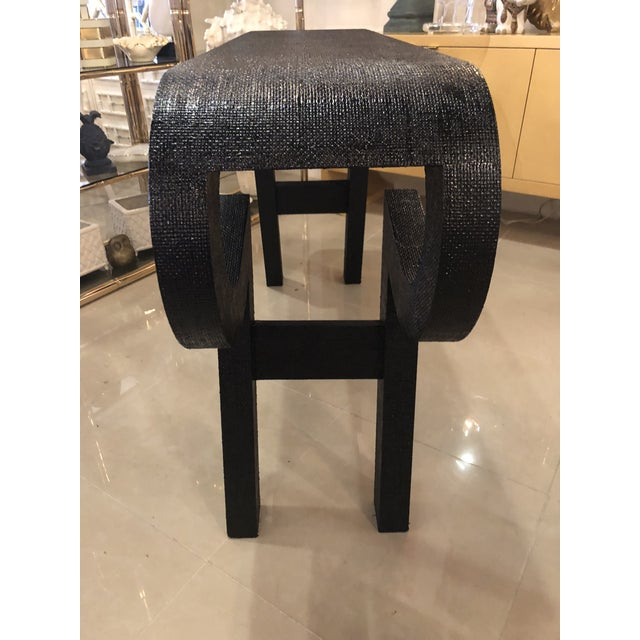 1970s Black Lacquered Grasscloth Scroll Ming Console Table For Sale - Image 5 of 14