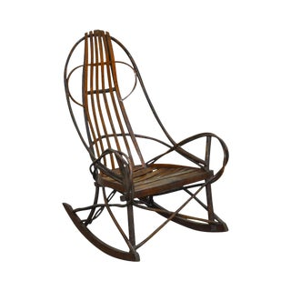 Antique Bentwood Hickory & Oak Twig Rocker (B) For Sale
