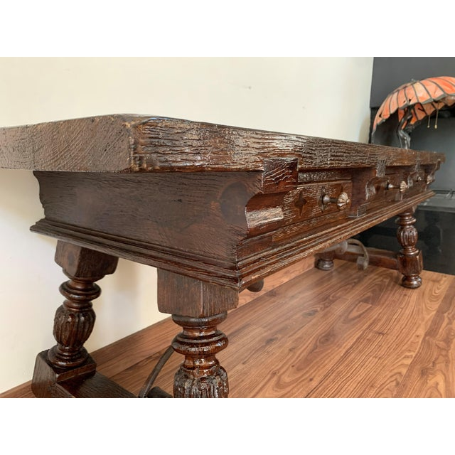 19h Spanish Bench or Low Console Table With Marquetry Drawers and Iron Stretcher For Sale - Image 9 of 11