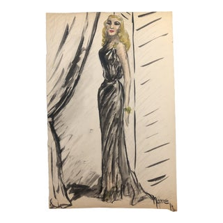 Portrait of a Lady in a Black Gown 1945 For Sale