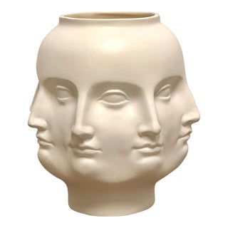 Perpetual Face Dora Maar Style White Ceramic Urn Vase For Sale