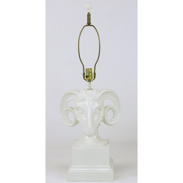 Chapman White Ceramic Ram's Head Table Lamp For Sale In Chicago - Image 6 of 8
