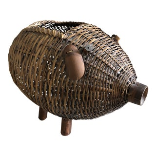 Mid Century Bamboo and Wicker Pig Basket For Sale