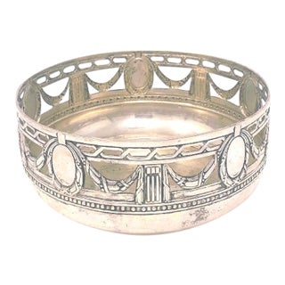 Late 1800s-Early 1900s German Hanau Sterling Silver Repousse Pierced Bowl For Sale