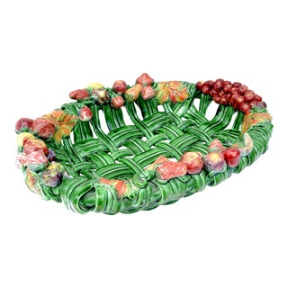 Vallauris France Glazed Woven Ceramic Basket Pink & Green Strawberry Pottery 70 For Sale