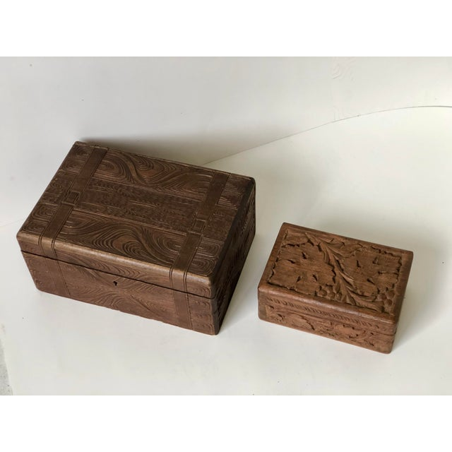English English Wooden Carved Boxes, 19th Century - a Pair For Sale - Image 3 of 13