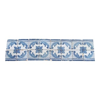 18th Century Cobalt Blue Over White Tin-Glazed Pottery Tiles - Set of 16 For Sale