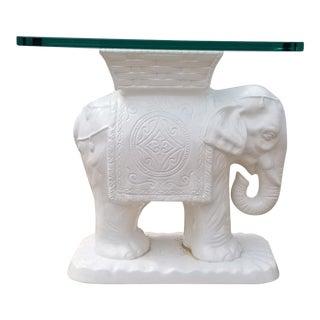 1970s Hollywood Regency White Ceramic Elephant Garden Stool/Side Table For Sale