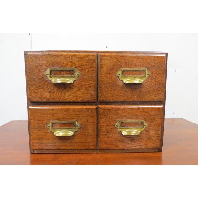Wood English Tiger Oak 4 Drawer Tabletop Card File For Sale - Image 10 of 10