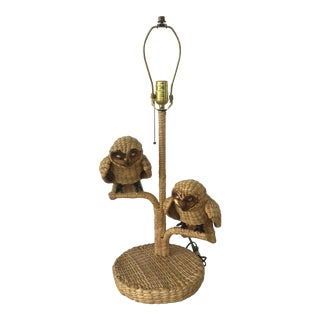 Vintage Mario Lopez Torres Wicker Table Lamp With Owls For Sale