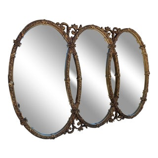 Vintage French Triple Oval Gold Mirror For Sale