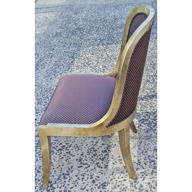 """1990s Vintage 20th Century French """"Donghia"""" Style Gilt Chairs - Set of 4 For Sale - Image 5 of 10"""