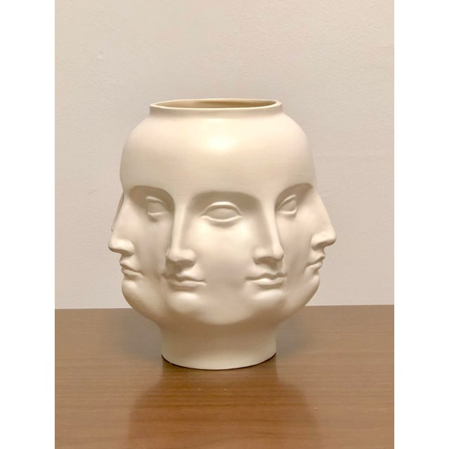 2000s Perpetual Face Dora Maar Style White Ceramic Urn For Sale - Image 5 of 5
