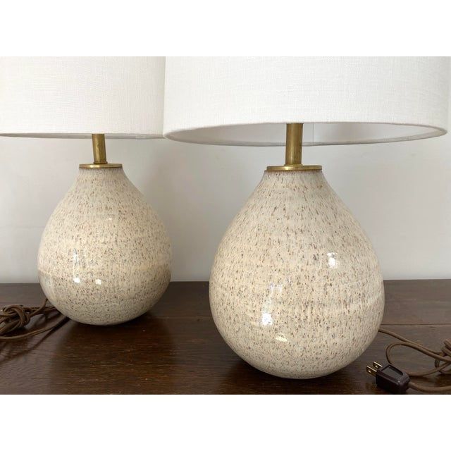 Mid-Century Modern Organic Modern Handmade Ceramic Table Lamps - a Pair For Sale - Image 3 of 11