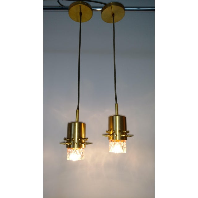 Brass spikes and blush colored glass pendant lights a pair chairish brass spikes and blush colored glass pendant lights a pair image 7 of 7 aloadofball Image collections