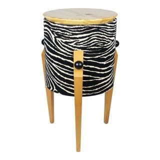 Postmodern Zebra Tripod Side Table For Sale