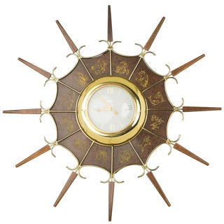 1950s United Embossed Zodiac Sunburst Clock For Sale