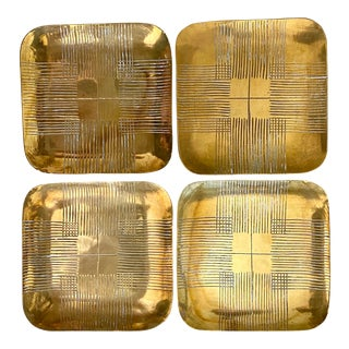 Brass Parzinger Style Trayrs - Set of 4 For Sale