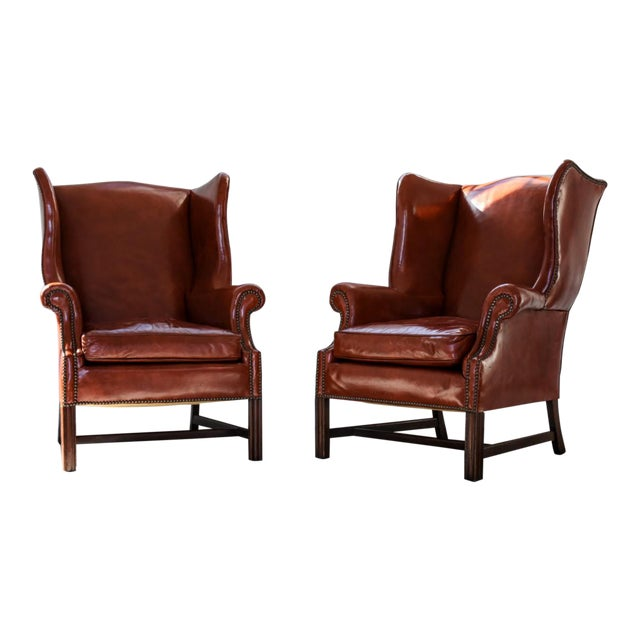 Vintage Marbled Red Leather Georgian H-Base Wingback Fireside Chairs - Pair For Sale