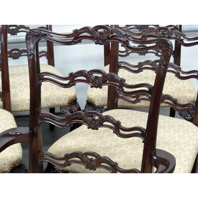 Georgian Georgian Style Ladder Back Dining Chairs - Set of 10 For Sale - Image 3 of 8
