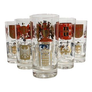 Vintage Gay Fad European Country Coat of Arms Style Gilt Tumblers - Set of 7 For Sale