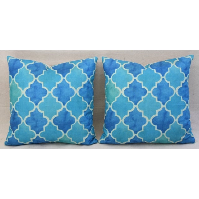 BoHo Chic Moroccan Tiles Linen Feather/Down Pillows - Pair - Image 7 of 11