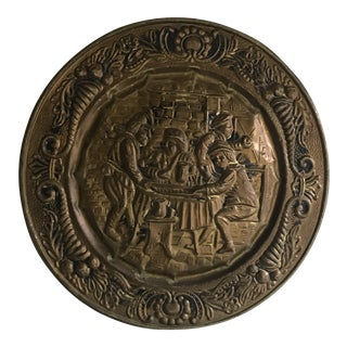 Mid 20th Century English Vintage Tavern Scene Brass Wall Plate For Sale