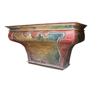 Monumental Italian Faux Painted Altar Table/Console For Sale