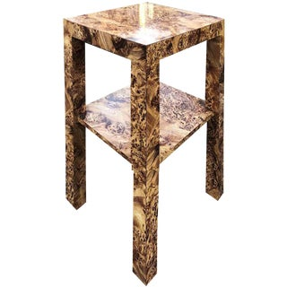 1970s Baughman Style Burl Effect Accent Table For Sale