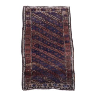 Antique Baluch Tribal Rug Navy Blue 3x5 For Sale