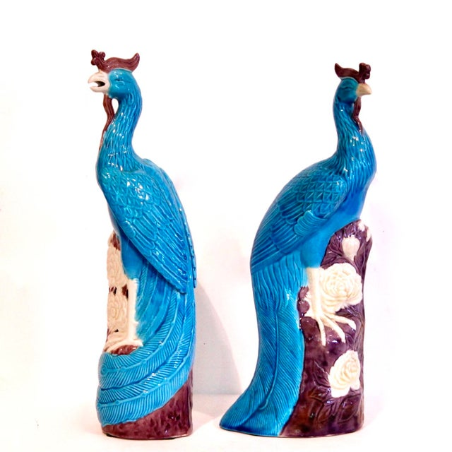 A very finely modeled pair of exotic birds, each distinctive in its pose and details. The feathers are rendered in...