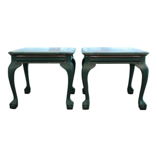 Bohemian Stenciled Teal Blue Metallic End Tables / Nightstands - a Pair For Sale