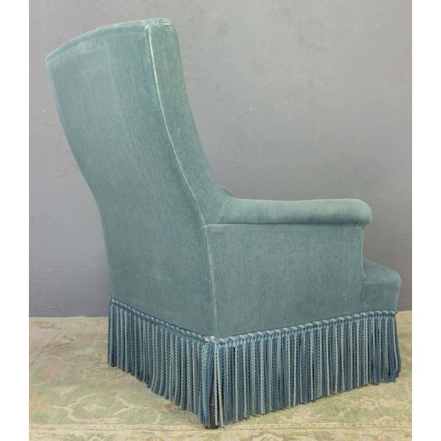 19th Century French Faded Blue Velvet Armchair - Image 5 of 11