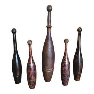 1920s Antique Wooden Indian Juggling Clubs - Set of 5 For Sale