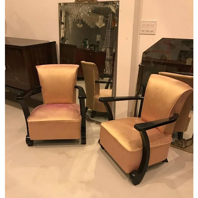 Art Deco French Art Deco Ebony Lacquered Club Chairs - A Pair For Sale - Image 3 of 8